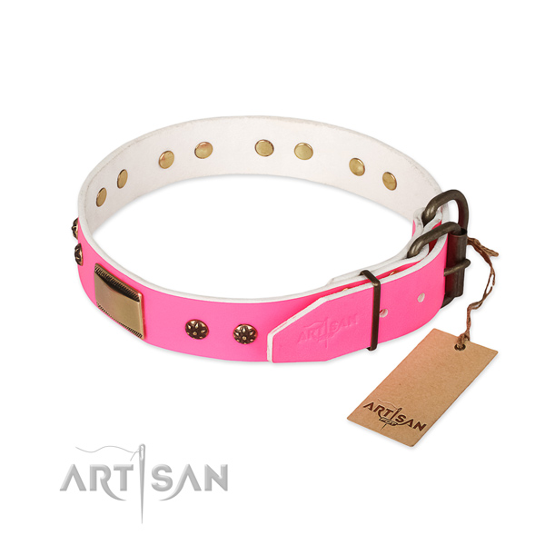 Genuine leather dog collar with strong hardware and decorations