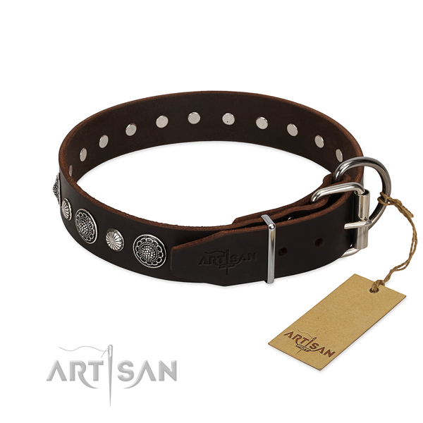 High quality Full grain natural leather dog collar with rust resistant hardware