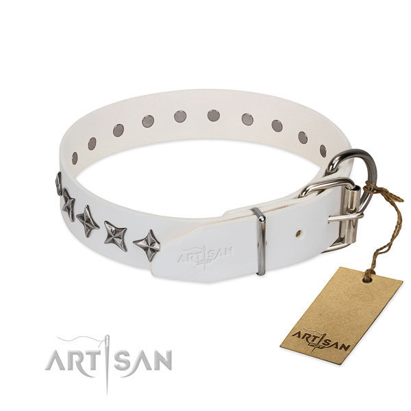 Reliable full grain natural leather dog collar with designer adornments
