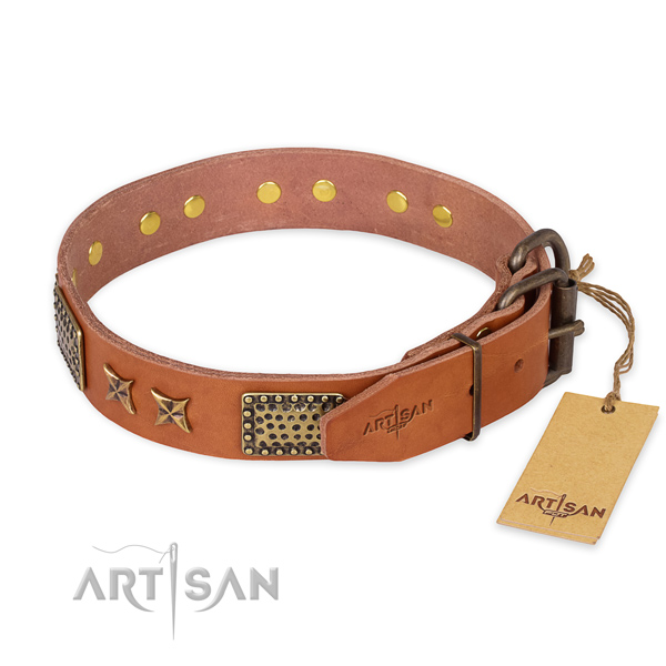 Corrosion proof hardware on full grain genuine leather collar for your handsome dog
