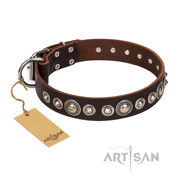 Strong embellished dog collar of full grain leather