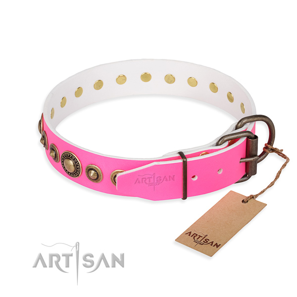Strong leather dog collar handmade for stylish walking