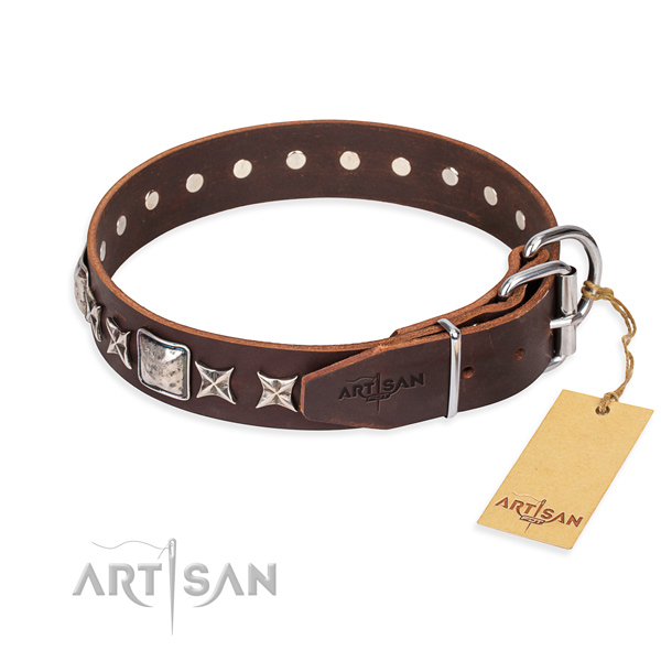 Best quality embellished dog collar of full grain natural leather