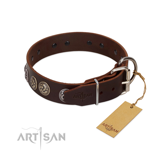 Corrosion resistant D-ring on convenient full grain natural leather dog collar