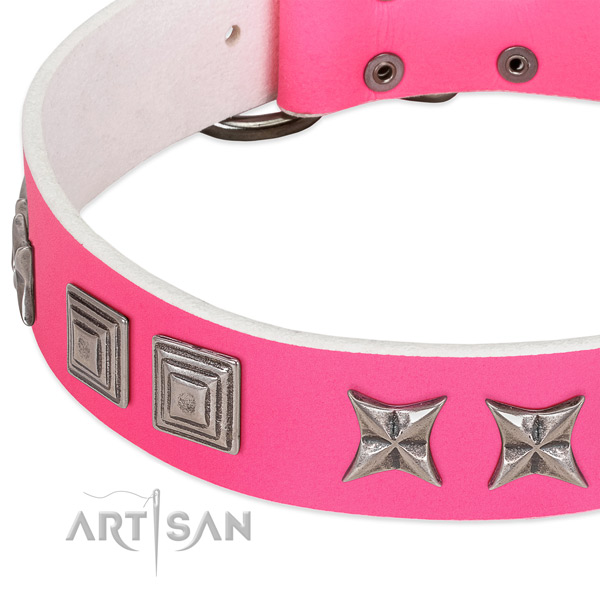 Top rate natural leather dog collar with rust resistant buckle
