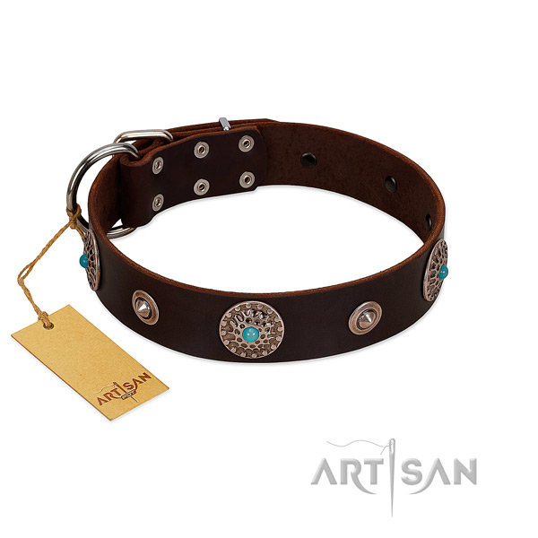 Soft to touch leather dog collar made for your canine