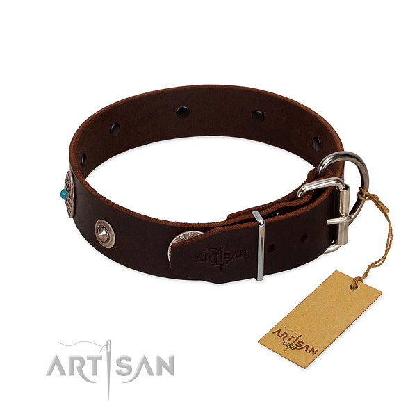 Fashionable full grain natural leather dog collar with reliable decorations