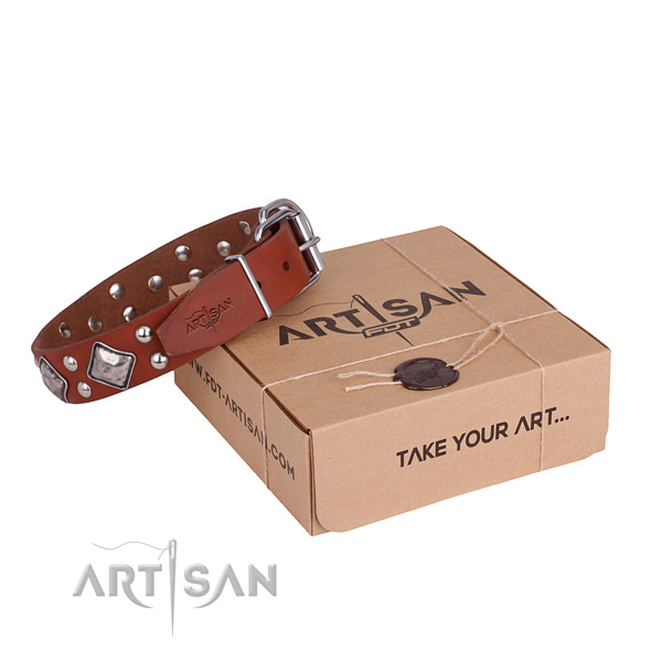 Comfortable wearing dog collar with Stylish design rust resistant decorations