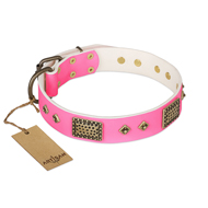 """Frenzy Candy"" FDT Artisan Decorated Pink Leather English Pointer Collar"