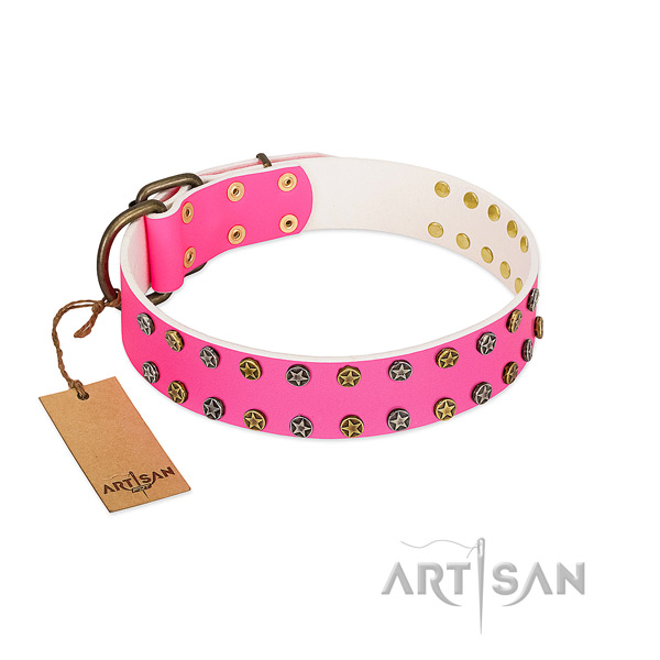 Quality full grain genuine leather collar with adornments for your doggie