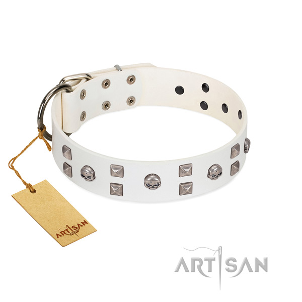 Best quality full grain genuine leather dog collar with adornments