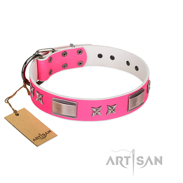 Comfortable collar of full grain natural leather for your canine