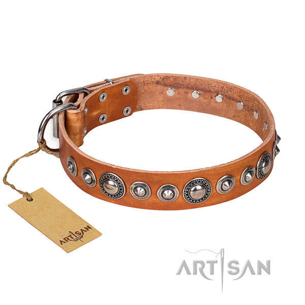 Full grain genuine leather dog collar made of gentle to touch material with reliable fittings