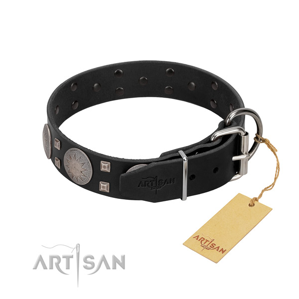 Top notch full grain genuine leather dog collar for walking your pet