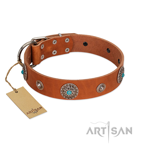 Soft to touch full grain leather dog collar created for your dog