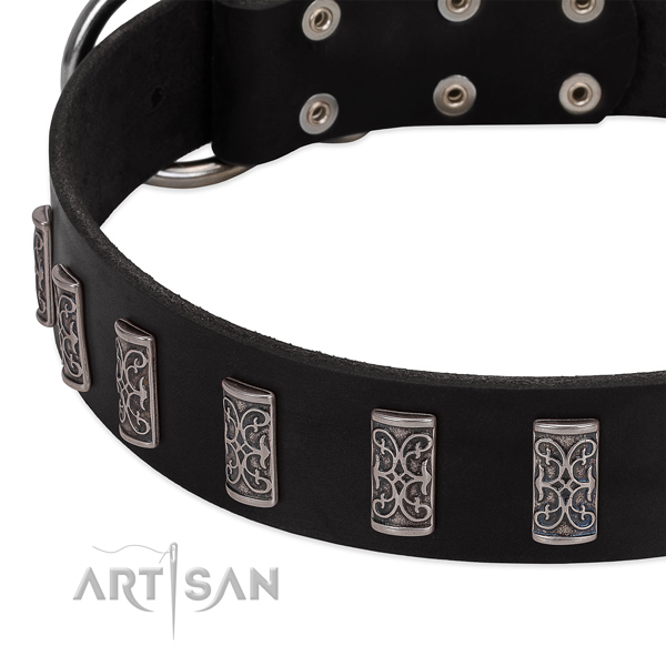 Best quality full grain genuine leather dog collar with durable D-ring