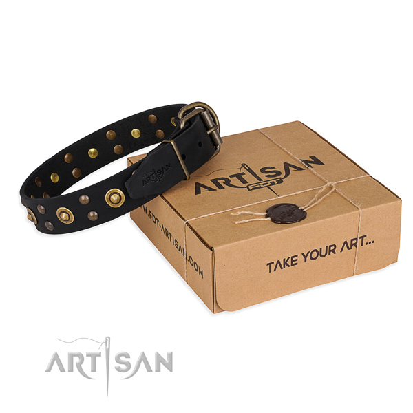 Rust resistant D-ring on full grain genuine leather collar for your beautiful pet