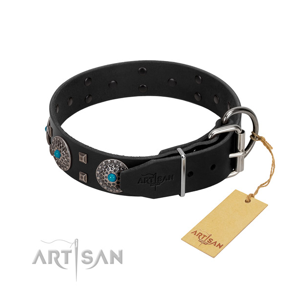 Soft to touch natural leather dog collar with adornments for handy use