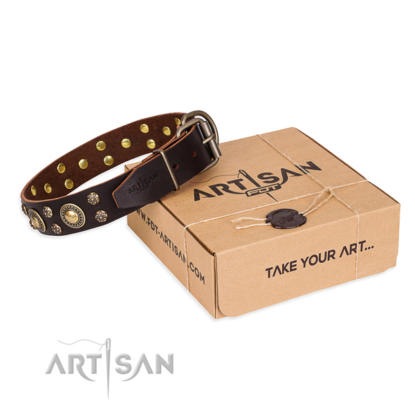 Comfortable wearing dog collar of durable leather with studs