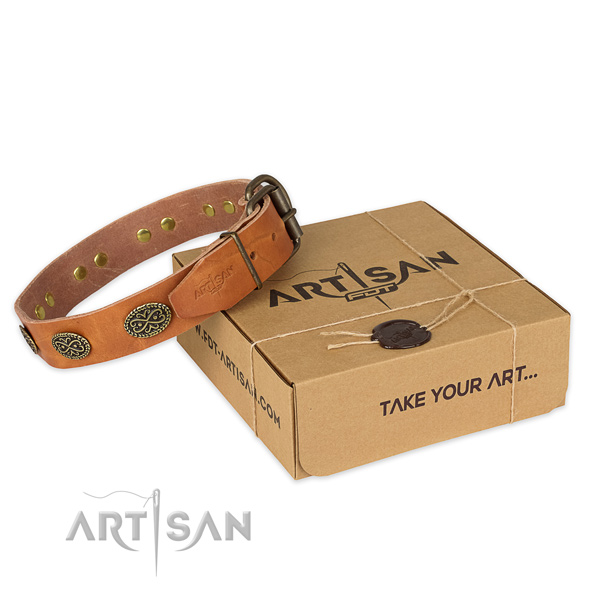 Rust-proof hardware on full grain natural leather collar for your handsome canine