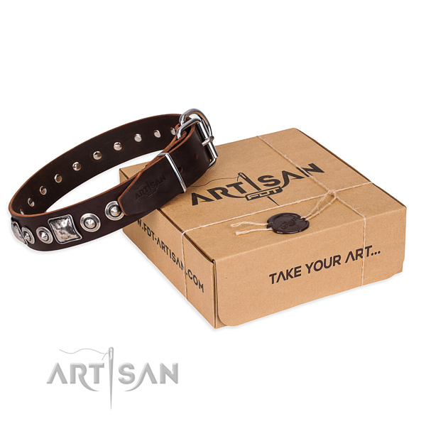 Full grain genuine leather dog collar made of flexible material with corrosion resistant hardware