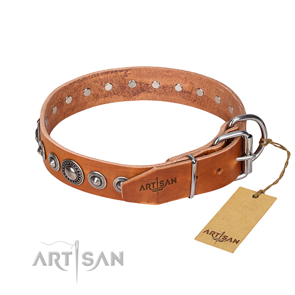 Genuine leather dog collar made of top rate material with rust resistant adornments