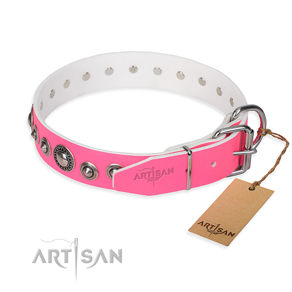 Genuine leather dog collar made of soft to touch material with corrosion resistant adornments