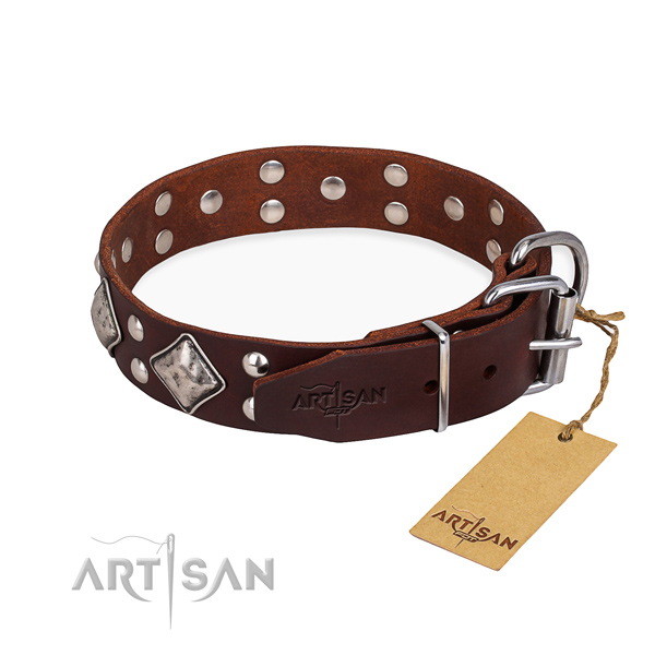 Natural leather dog collar with stylish design corrosion proof decorations