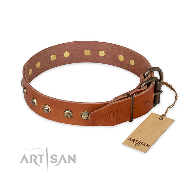 Corrosion proof traditional buckle on leather collar for your beautiful pet