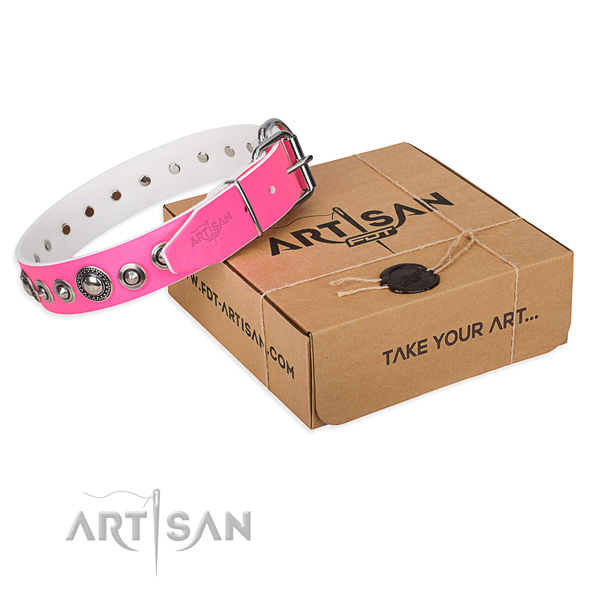 Full grain natural leather dog collar made of best quality material with reliable D-ring