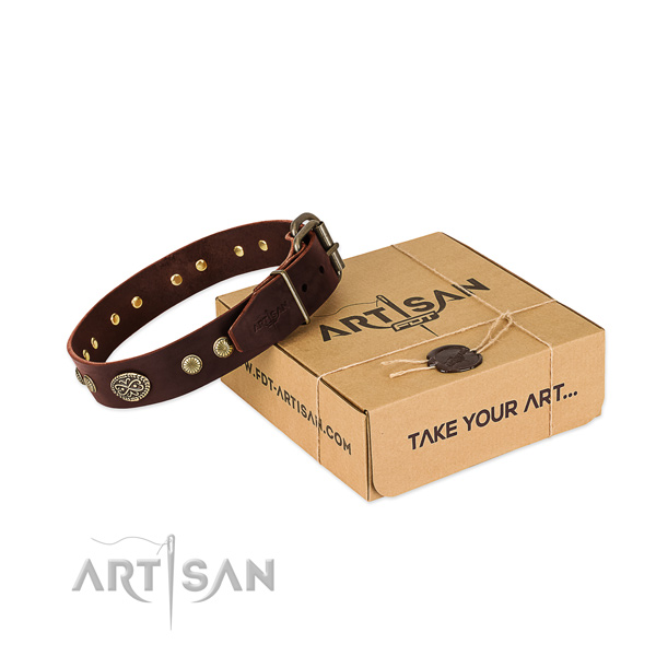 Reliable fittings on full grain natural leather dog collar for your pet