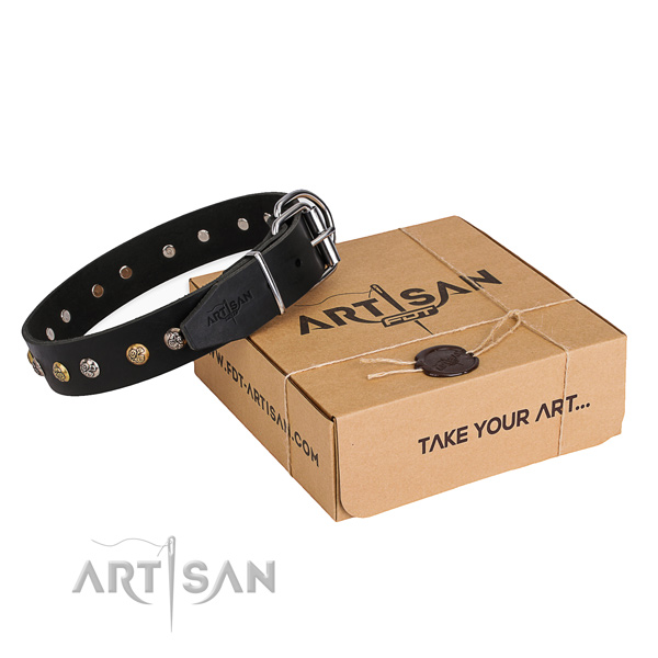 High quality natural genuine leather dog collar handcrafted for basic training