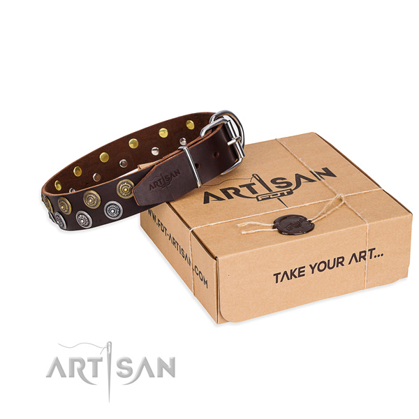 Handy use dog collar of durable genuine leather with embellishments