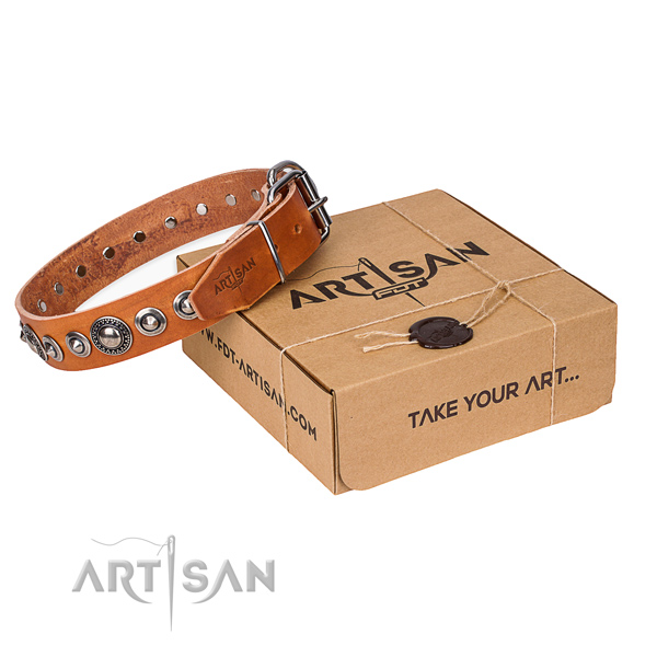 Genuine leather dog collar made of high quality material with corrosion resistant buckle