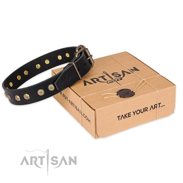 Corrosion proof buckle on full grain genuine leather collar for your attractive pet