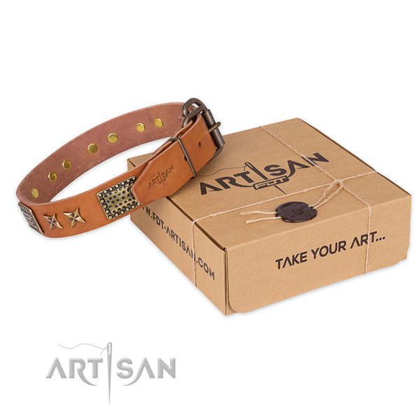 Durable hardware on full grain leather collar for your lovely doggie