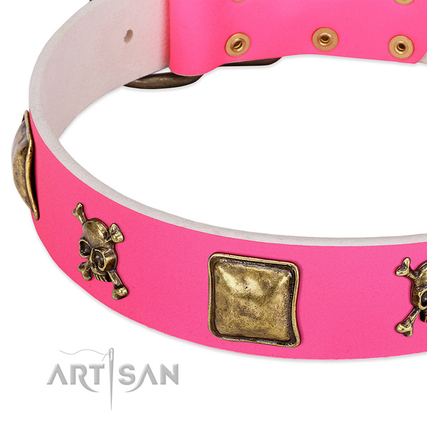 Soft genuine leather dog collar with top notch embellishments