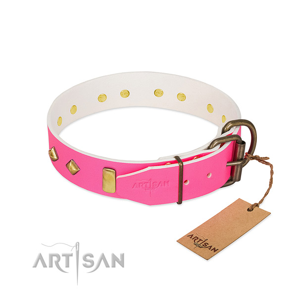 Full grain leather dog collar with corrosion proof D-ring for handy use