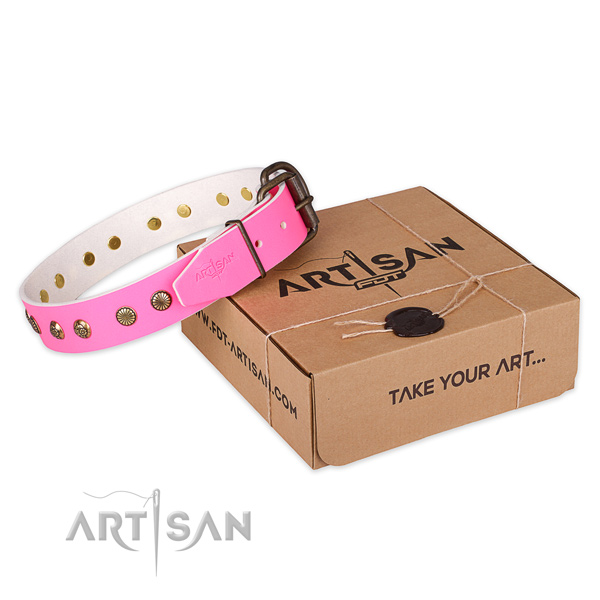 Rust resistant D-ring on natural genuine leather collar for your lovely pet