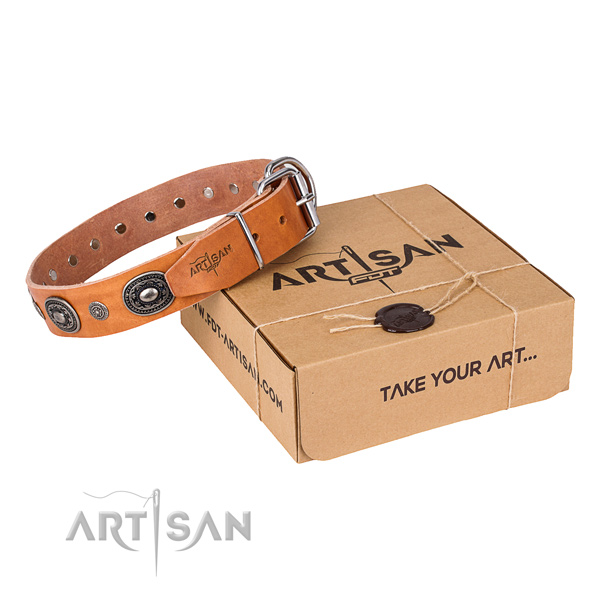 Soft to touch full grain natural leather dog collar crafted for everyday use
