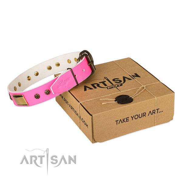 Inimitable genuine leather collar for your impressive pet