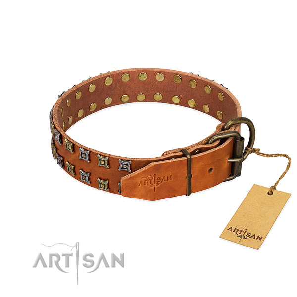 Top notch full grain leather dog collar handcrafted for your doggie