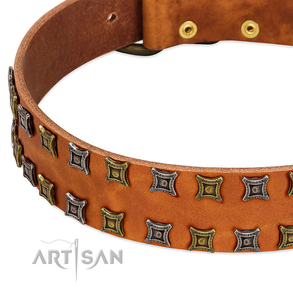 Strong genuine leather dog collar for your attractive dog