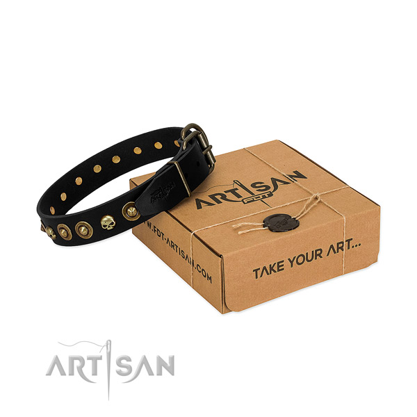 Full grain genuine leather collar with stylish design adornments for your four-legged friend