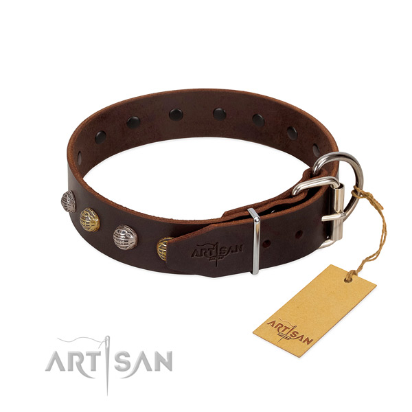Fancy walking reliable leather dog collar