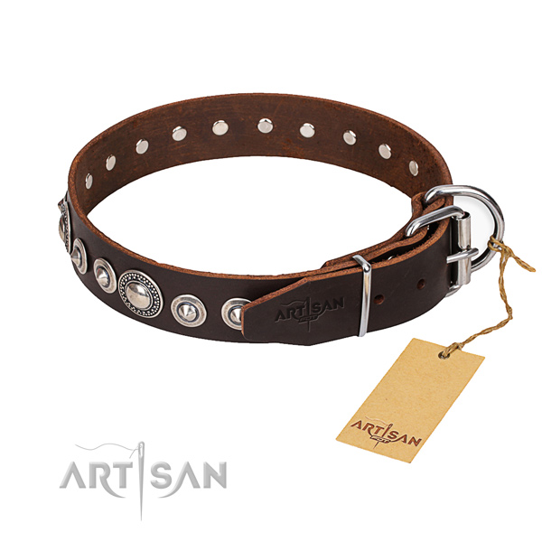 Genuine leather dog collar made of best quality material with corrosion proof D-ring