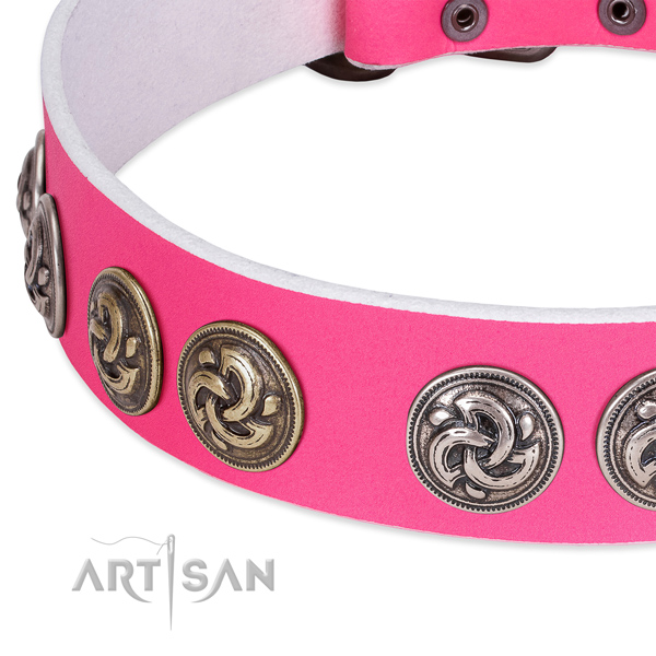Top notch genuine leather collar for your doggie stylish walks