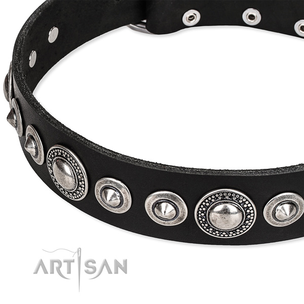 Comfy wearing embellished dog collar of strong full grain genuine leather