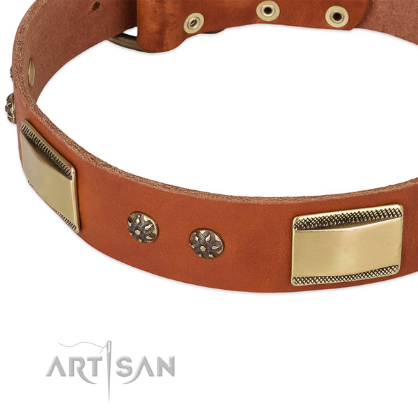 Durable studs on full grain genuine leather dog collar for your pet