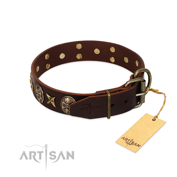 Genuine leather dog collar with rust resistant D-ring and decorations